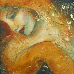 Allure, Oil and 22ct Gold Leaf  on Paper, by Metka Skrobar