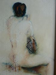 Seated Nude, Oil on Litho with Screen Print, by Metka Skrobar