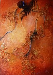 Amber, acrylic and collage with gold leaf on canvas, by Metka Skrobar