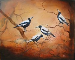 Carolling Magpies, Mixed Media on Canvas, by Metka Skrobar