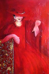 Lady in Red, Oil and mixed medai on Canvas, by Metka Skrobar